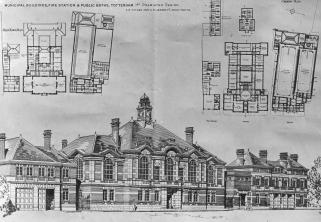 'Best of the old': a sketch of Tottenham Town Hall, copyright of copyright Bruce Castle Museum, Haringey Culture, Libraries