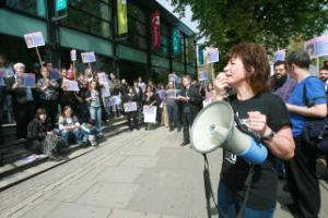 Education, education, education: students protest outisde the Tottenham campus of the College of Haringey, Enfield and North East London over Government cuts which put adult learner courses at risk