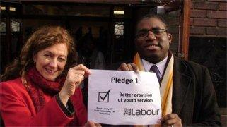 Councillor Lorna Reith, Haringey Council children's boss, and Tottenham MP David Lammy during Labour's election campaign