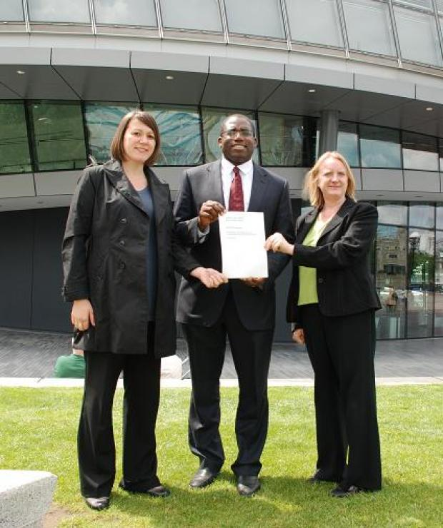 (L-R) Claire Kober, David Lammy, and Joanne McCartney outside City Hall last month.