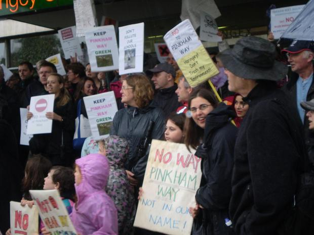 Campaigners protested outside Haringey, Enfield, and Barnet Councils last year.