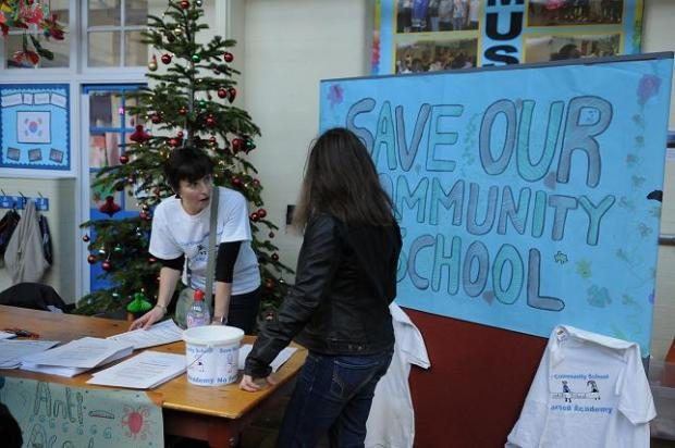 The anti-academy campaign was on show at a winter festival at Downhills Primary School last week.