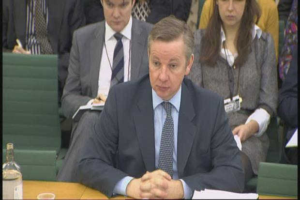 Mr Gove answering questions at the Education Select Committee yesterday.