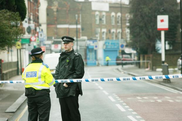 The police guard West Green Road after the incident in February