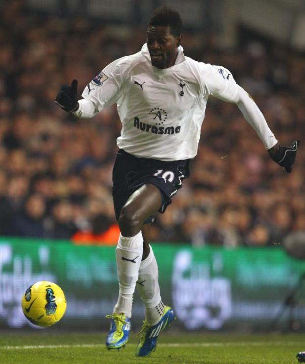 Emmanuel Adebayor enjoyed an impressive loan stay with Spurs this season. Picture: Action Images