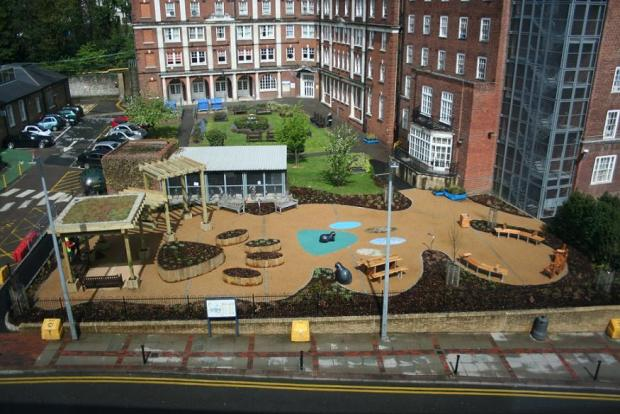 The 'new look' garden at the Whittington Hospital