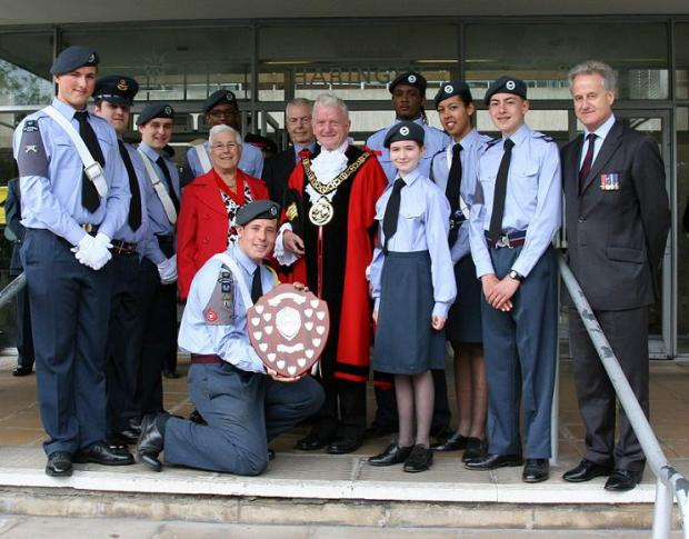 Cllr Browne and Councillor Sheila Peacock with the winning 16 Flight Squadron on Sunday.