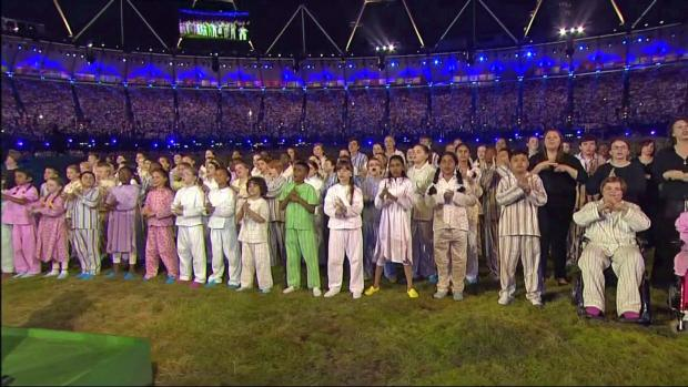 Choir performs national anthem at Olympic Opening Ceremony