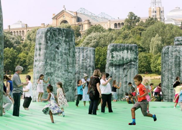 Families enjoy inflatable Stonehenge