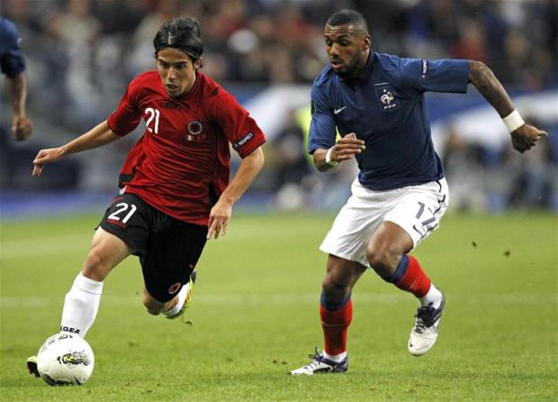 Yann M'Vila (right) in action for France. Picture: Action Images