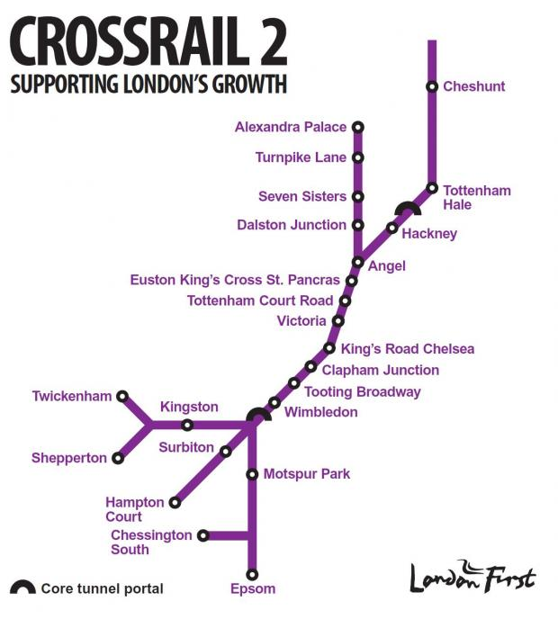 The route of Crossrail 2 proposed by London First