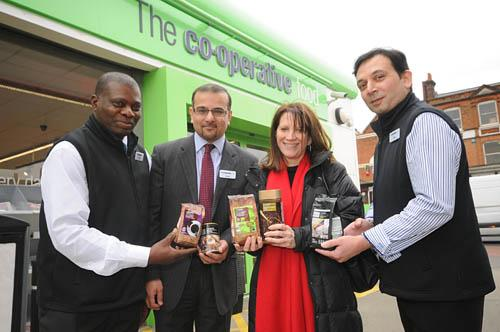 Operations Manager for Co-operative Food Crouch End Adnan Naqvi, store staff Anwar Khan and Sam Akere with MP Lynne Featherstone