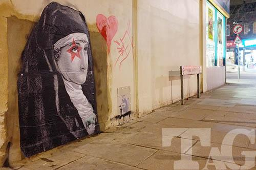 This new image has appeared on the spot from which the Banksy was removed. Picture courtesy Turnpike Art Group