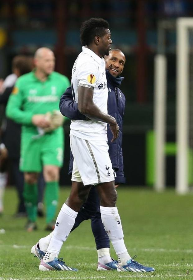 Emmanuel Adebayor and Jermain Defoe celebrate after squeaking past Inter Milan on aggregate