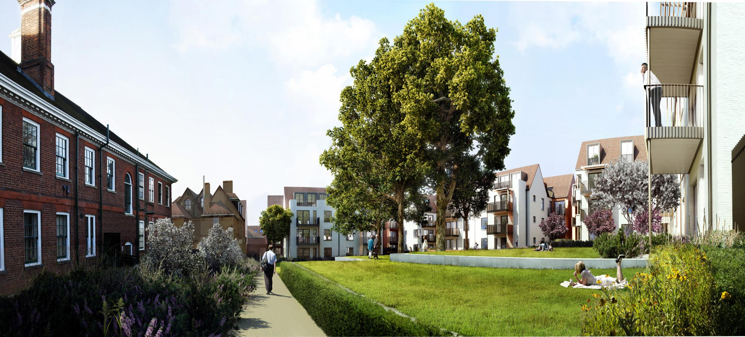 An artists impression of the fomer site of St Luke's Hospital will look like after more than 160 homes are built in Muswell Hill