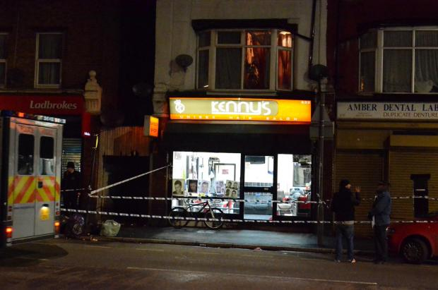 Haringey Independent: Police cordoned off Kenny's Unisex Hair Salon, in Lordship Lane, last night after reports of a shooting. Photo taken by Jerome Jacob