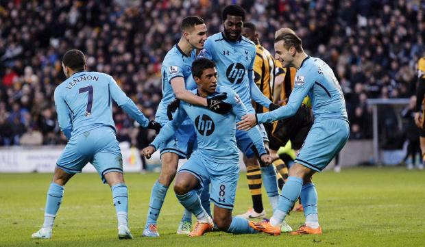 Paulinho celebrates his equaliser. Picture: Action Images