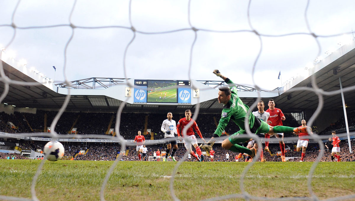 A through the net view of Roberto Soldado's winner. Picture: Action Images