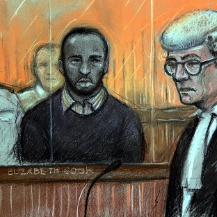 Nicholas Jacobs (centre) is standing trial for the murder of PC Keith Blakelock
