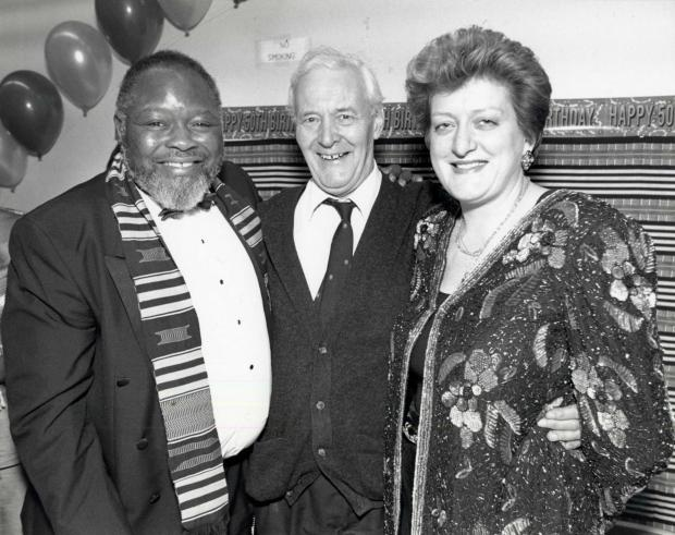 Bernie Grant, Tony Benn and Sharon Grant at the African Caribbean Centre in Turnpike Lane in 1994