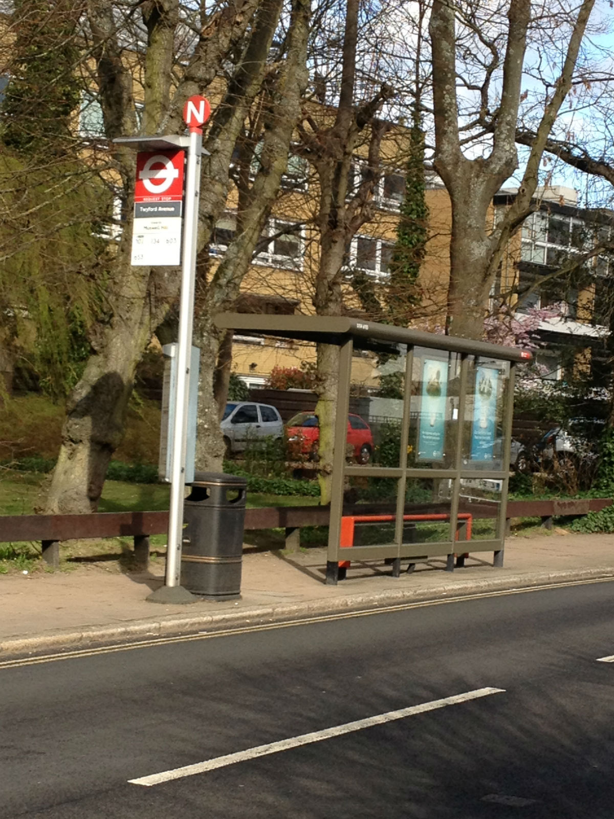 The bus stop in Fortis Green where the 79-year-old woman was sexually assaulted.
