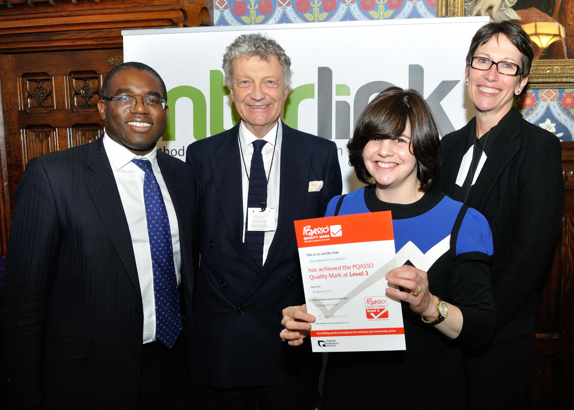 David Lammy MP, William Shawcross, Chaya Spitz and Samantha Matthews attended a parliamentary reception to honour the work of the Jewish charity the Interlink Foundation
