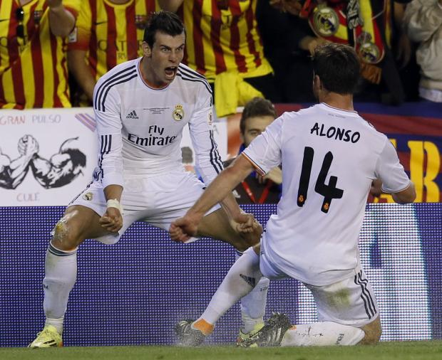 Gareth Bale celebrates his winner for Real Madrid in Wednesday's Copa Del Rey final. Picture: Action Images