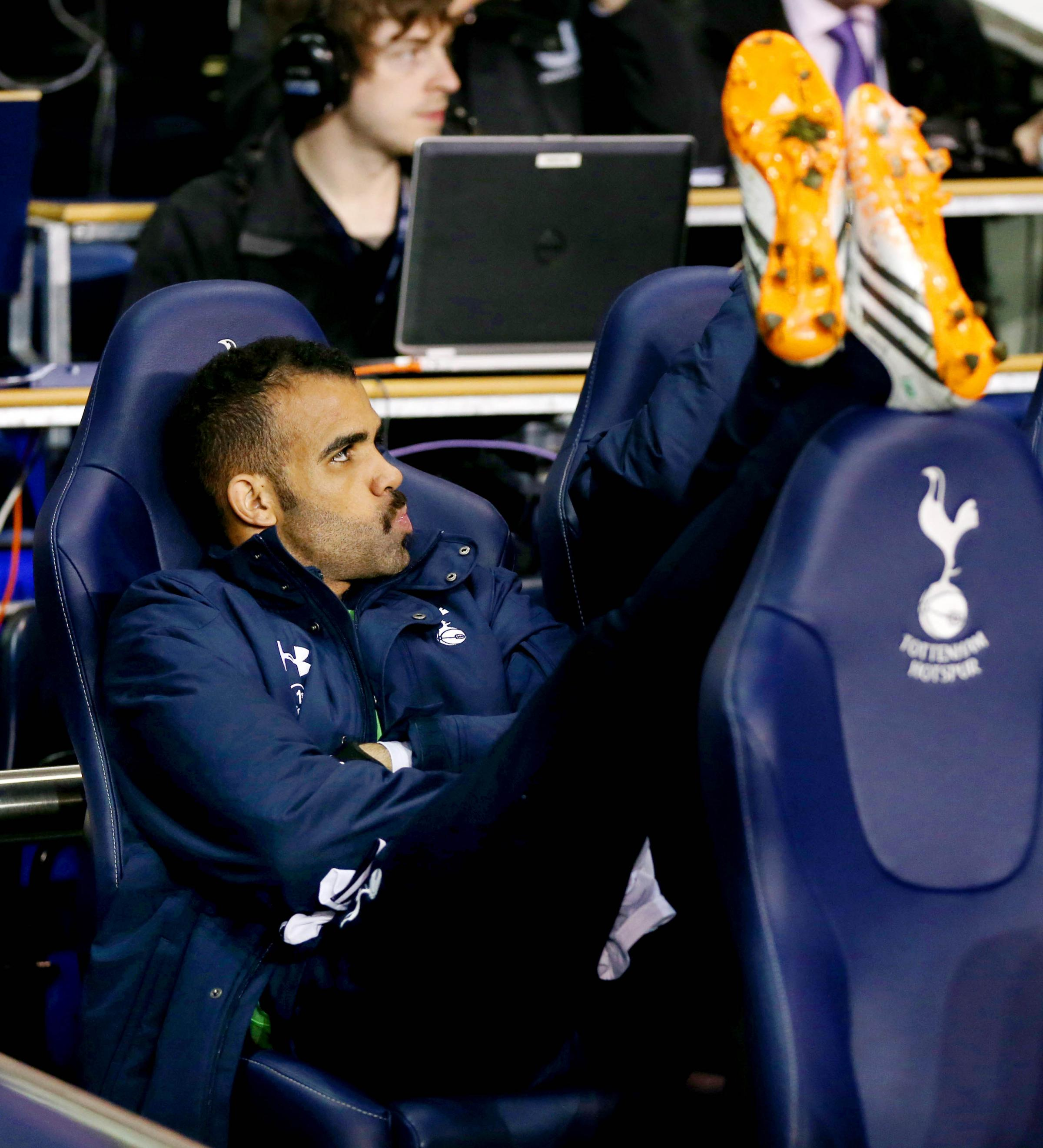Sandro cuts a frustrated figure on the substitute's bench earlier this season. Picture: Action Images