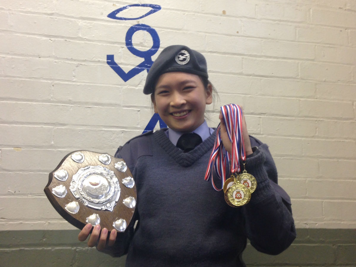 Cadet Nikki Siow with her numerous awards.