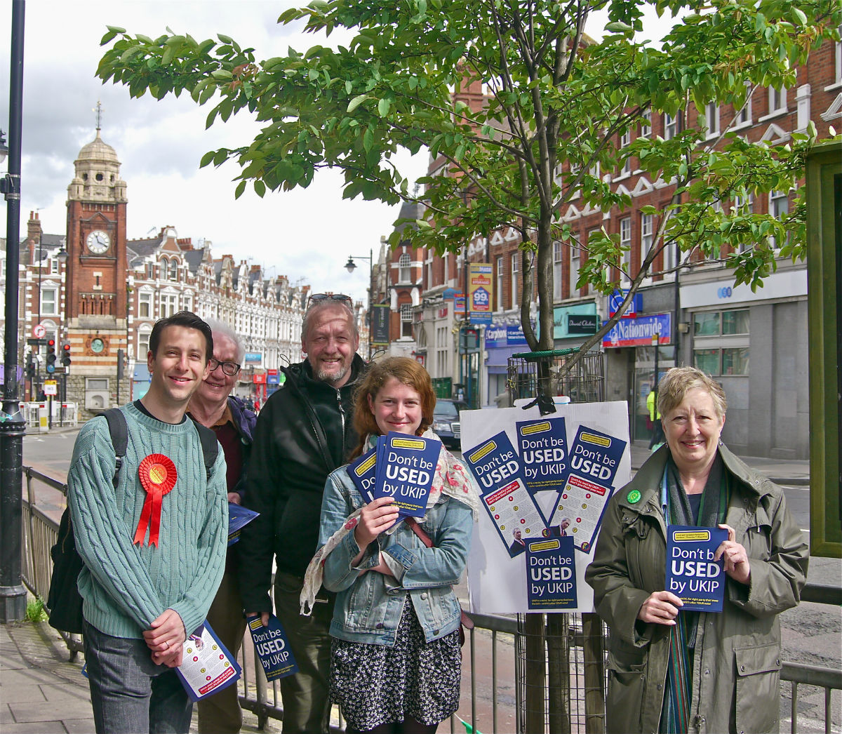 Members of Labour, the Liberal Democrats and TUSC handed out anti-UKIP leaflets in Crouch End this week