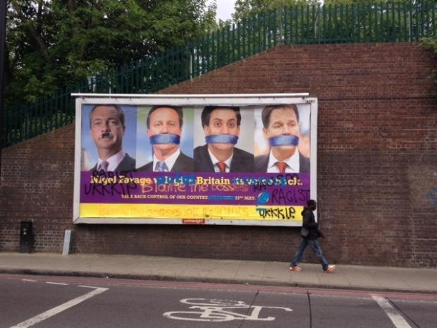 Haringey Independent: A UKIP poster near the railway bridge over Seven Sisters Road