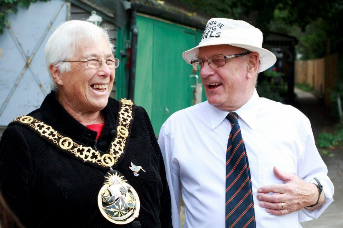 Haringey Mayor Sheila Peacock at the bowls club earlier this year with club captain Paul Ambler