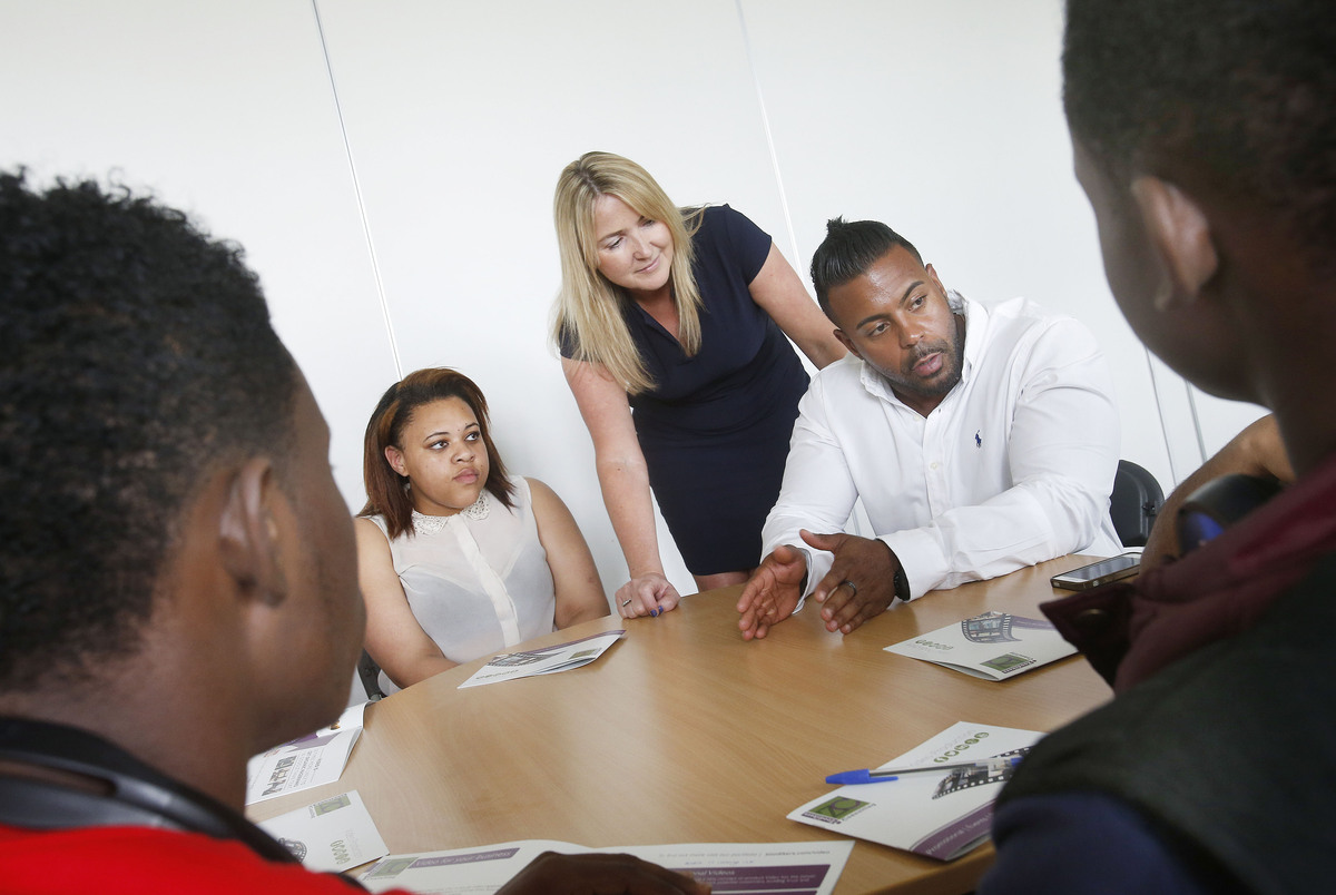 Founder Katie King with students at Haringey Sixth Form Centre this week