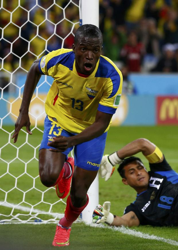 Haringey Independent: Enner Valencia wheels away in celebration after scoring against the Honduras. Picture: Action Images