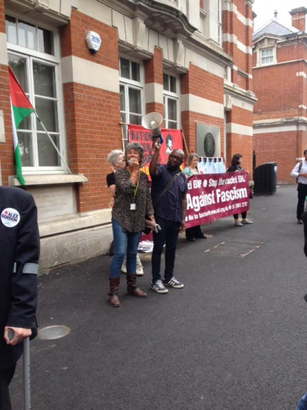 Haringey Independent: Gary MacFarlane with a speaker at the Tottenham anti-fascist protest