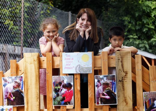 MP Lynne Featherstone with St Paul's pupils Taliah, aged 5, and Thomas, aged 4