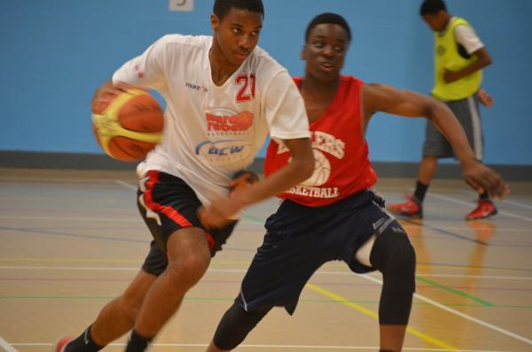Players during the basketball trials at Tottenham Green Leisure Centre