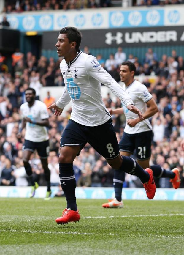 Haringey Independent: Paulinho celebrates scoring for Spurs against Fulham last term. Picture: Action Images