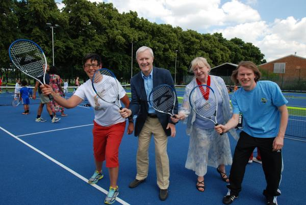 Andrea Keeble, Haringey Council's commissioning manager for environment services; Geoff Newton, CEO of the Tennis Foundation; Deputy Mayor Cllr Jennifer Mann and Martin Ball, chairman of Friends of DLP