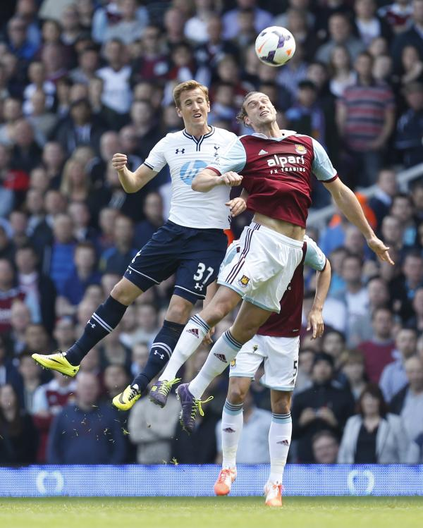Harry Kane (left) and Andy Carroll contest an arial duel last season. Picture: Action Images