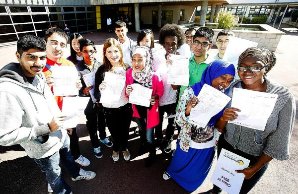 Happy pupils at Northumberland Park School on results day