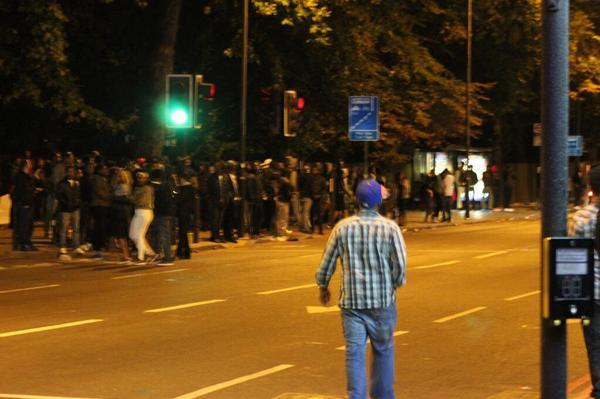 Crowds spill out of Finsbury Park onto Seven Sisters Road last night