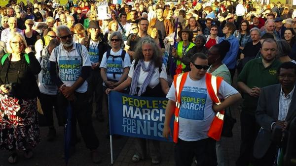 The People's March for the NHS arrives in London on September 6